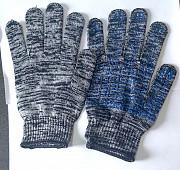 Перчатки рабочие, х/б, бело-черные, 10 класс, пхв покрытие, точка, с манжетом. Макеевка ДНР